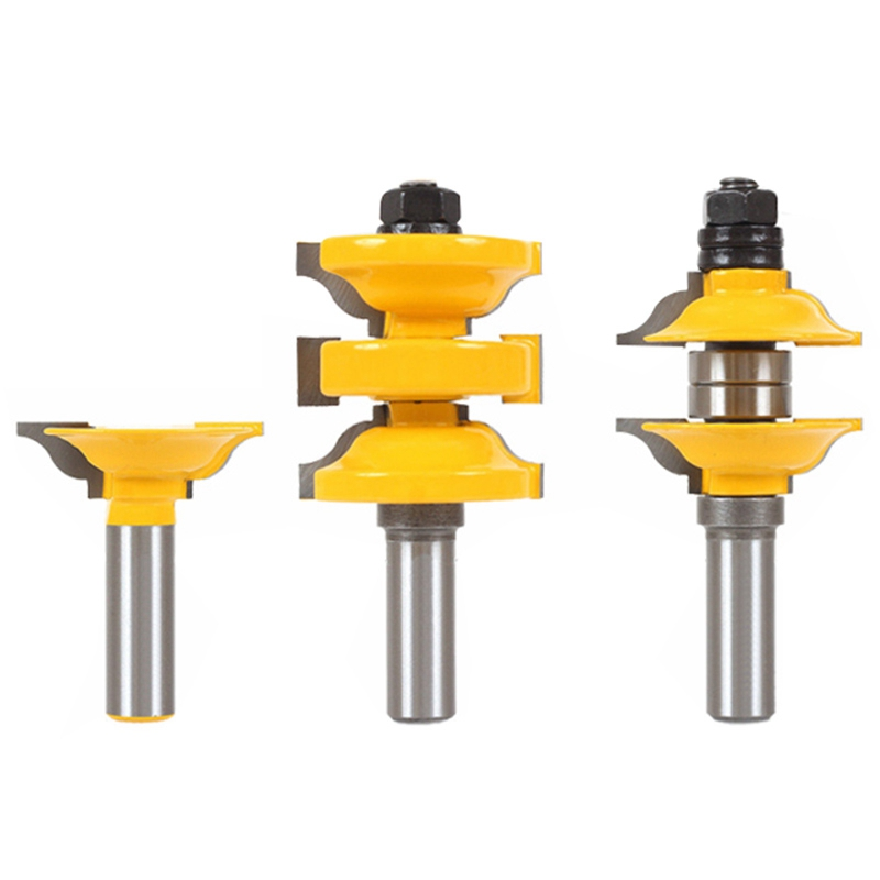 3Pcs 12mm Shank Entry Interior Tenon Door Router Bit Set Matched R&S Router Bits Carving For Wood