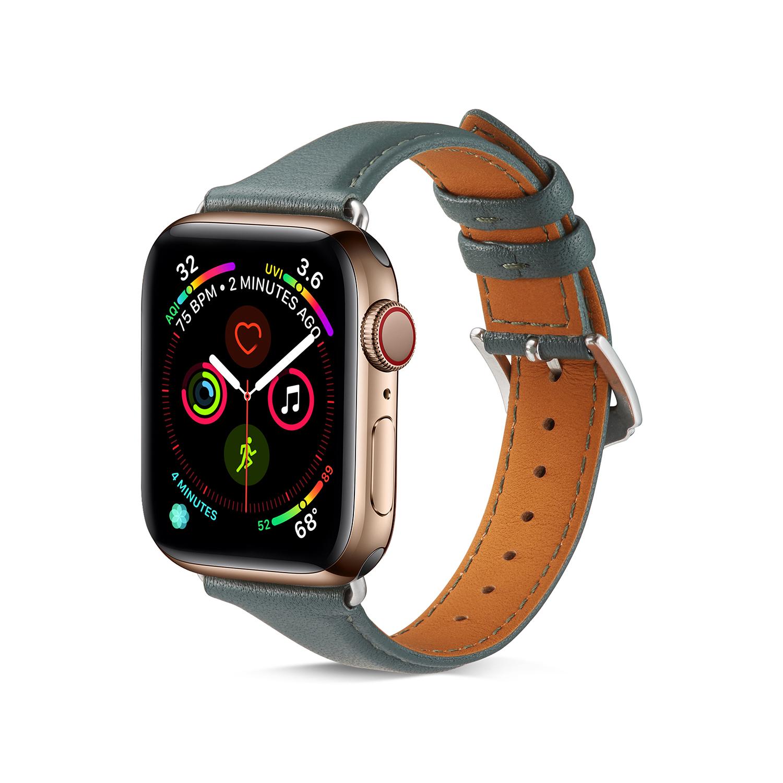 Кожаный ремешок для часов apple watch 5 4 40 44 мм спортивный