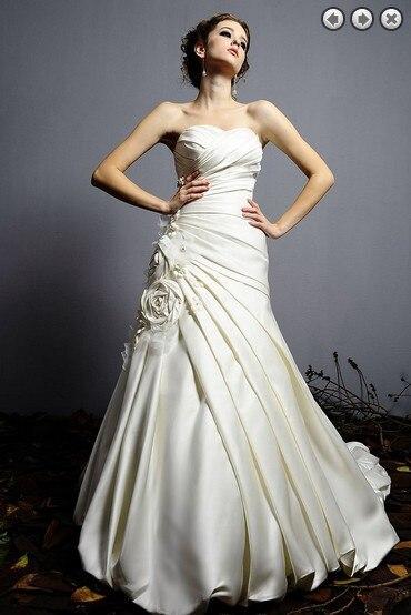 Casamento Sexy Sweetheart Flowers Satin Vestido De Noiva Renda 2020 New Fashionable Wedding Dress Bridal Gowns Free Shipping