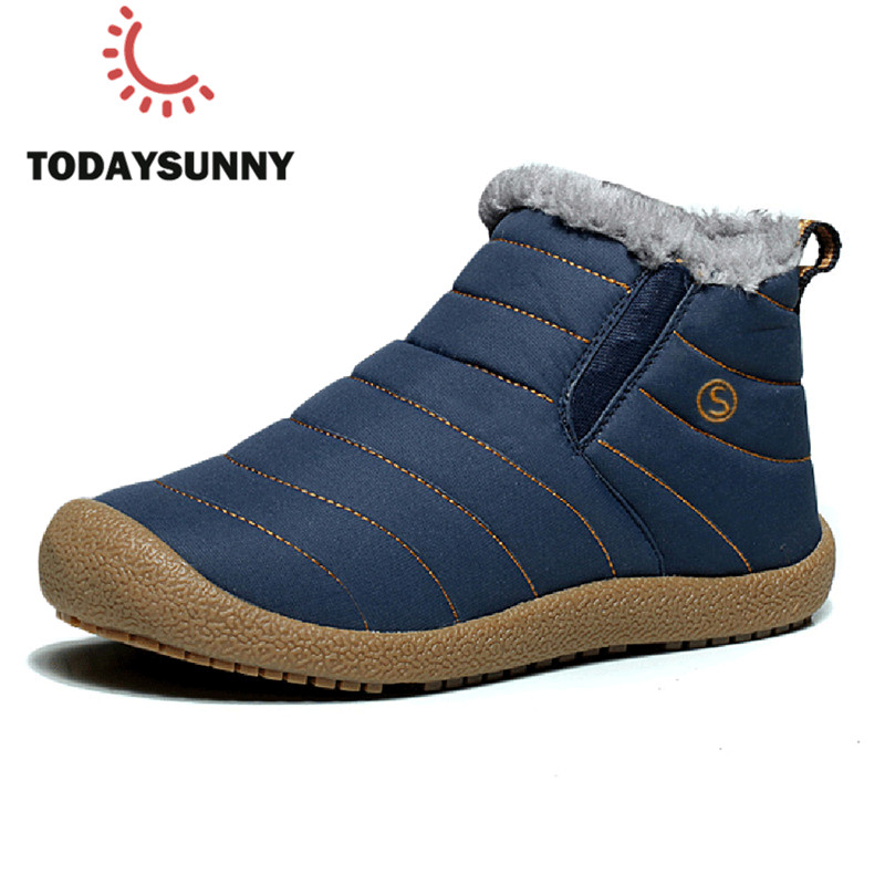 Men Winter Boots Cotton Snow Boots Male Warm Plush Anti-Slip Bottom Shoes Comfortable Male High Top Men Ankle Boots Zapatos Homb
