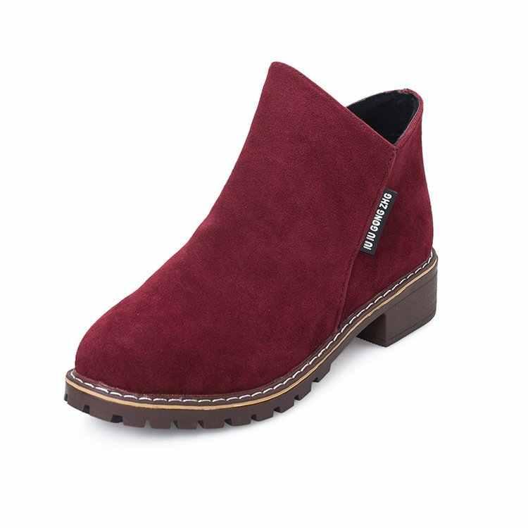 Yeni kadın Martin çizmeler sonbahar kış çizmeler klasik fermuar kar yarım çizmeler kış süet sıcak kürk peluş kadın ayakkabı