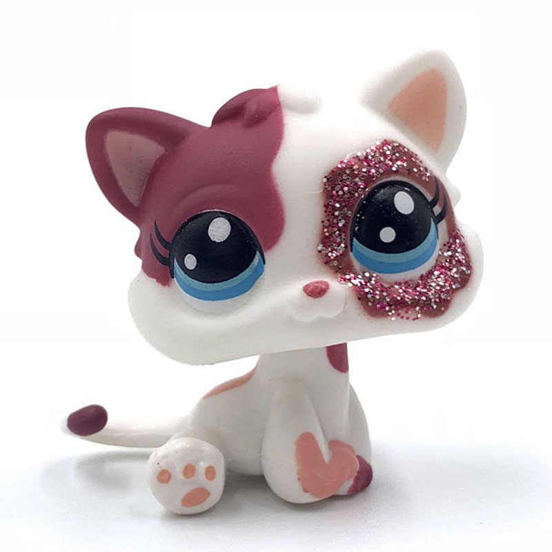 Cute Pet Shop Lps Toys Standing Short Hair MINI Cat #2291 With Shining Red Eyes Cute Pink Kitty For Girls Gift