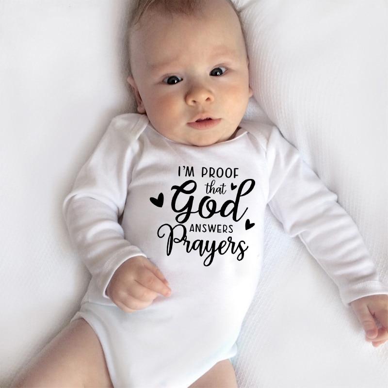 I'm Proof God Answers Prayers Funny Baby Bodysuits Boys Girls Unisex Autumn Long Sleeve Bodysuit Babe Winter Ropa Onesie