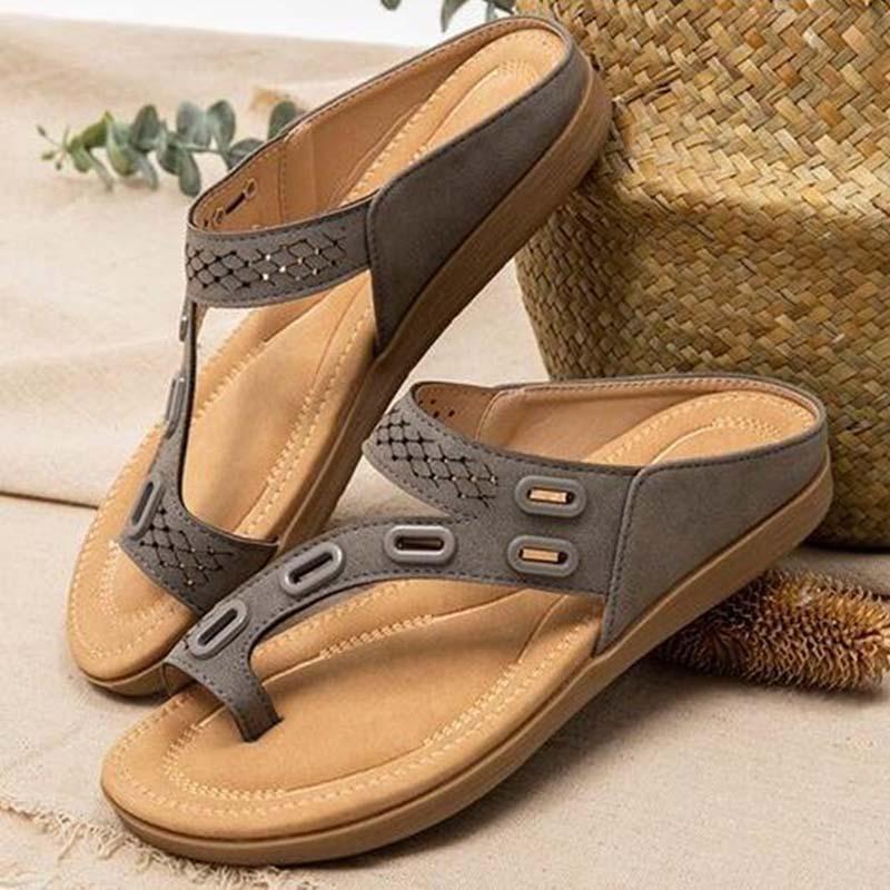 Sandálias femininas premium ortopédicas sapatos femininos chinelo plana vintage antiderrapante sandálias femininas flip flops senhoras sapatos mais tamanho 43