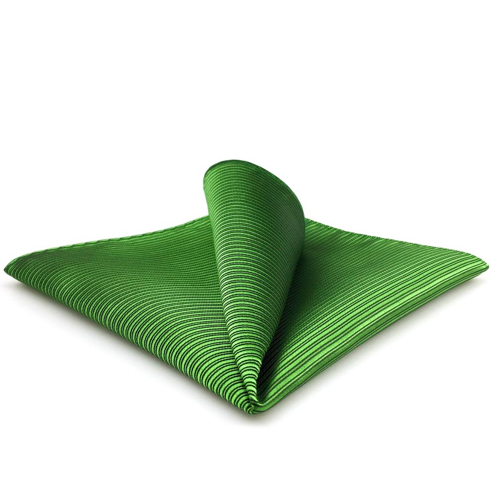 EH19 Solid Green Striped Mens Pocket Square Wedding Classic Handkerchief Silk