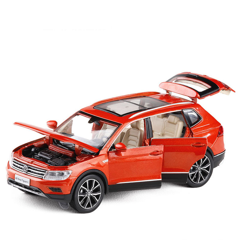 1/32 Tiguan L Simulation Toy Vehicles Model Alloy Pull Back Children Toys Genuine License Collection Gift Off-Road Vehicle Kids