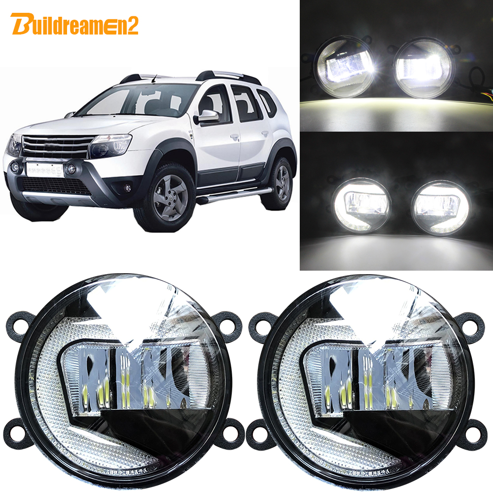 Buildreamen2 2in1 Function Car <font><b>LED</b></font> Projector Fog Lamp + Daytime Running Light DRL White 12V For Dacia <font><b>Duster</b></font> 2010-2015 image