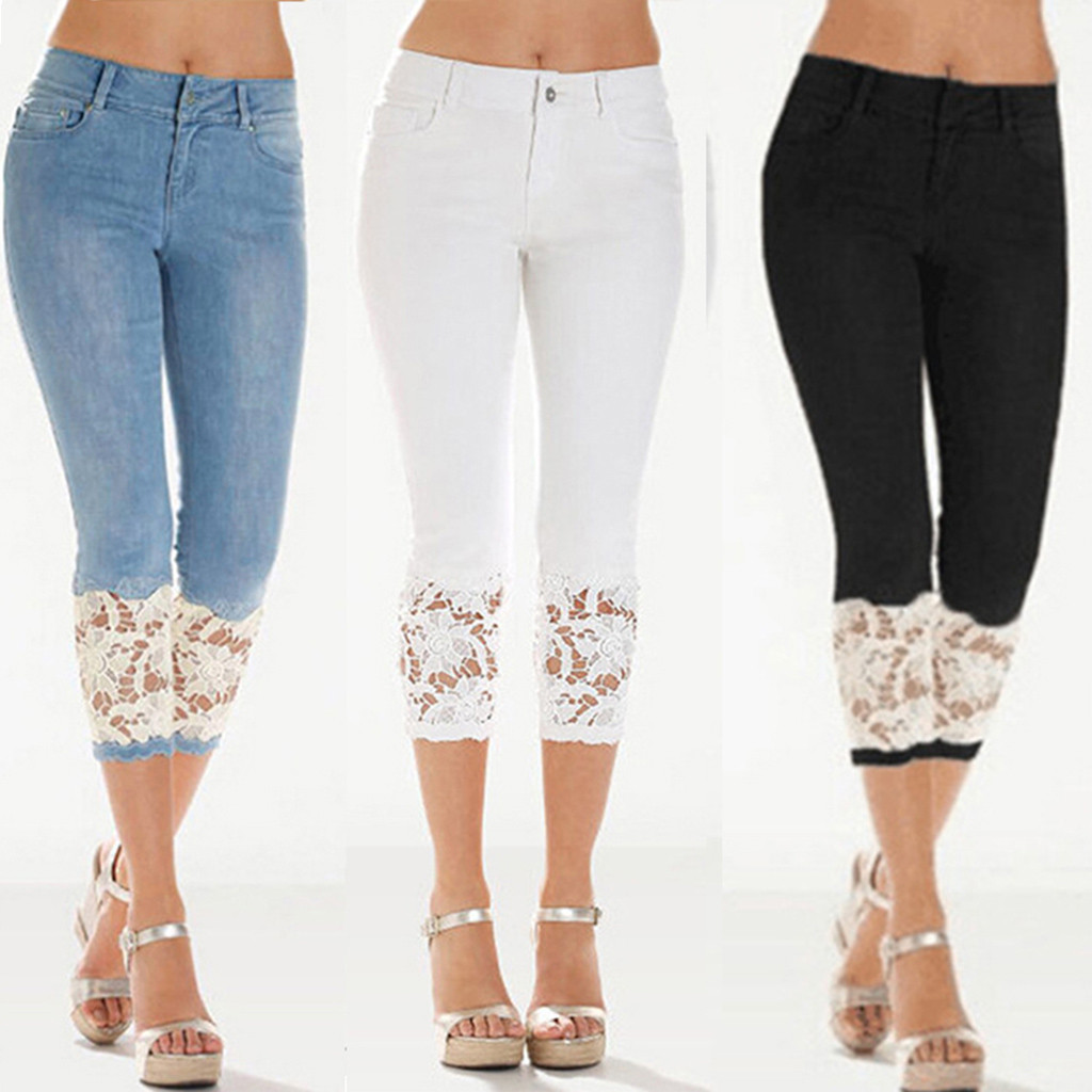 Women's Fashion Large Size Cropped Pants Retro High Waist Explosive Lace Casual Trousers 2019 New Skinny Sexy Stretch Jeans#B