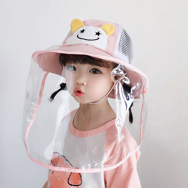 Baby Bucket Hat Protective Full Face Shield Cover Kids Hats Anti Saliva Dustproof Dual-use Sun Hat Cap With Clear Facial Mask 3