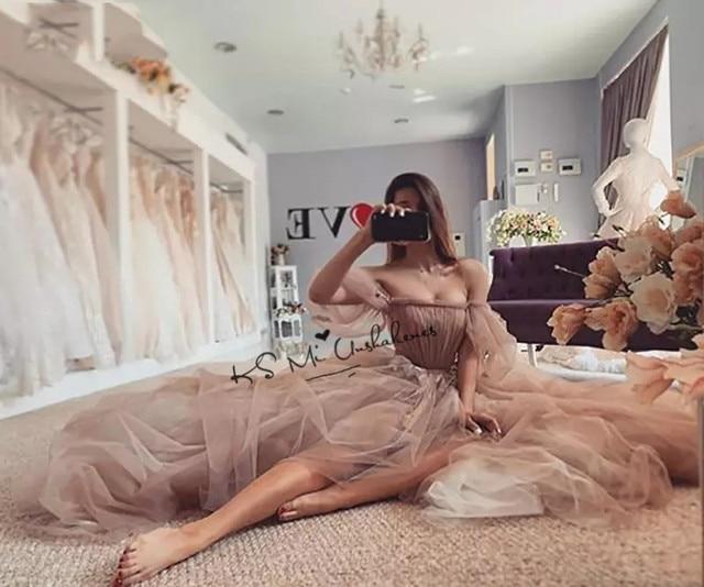 Old Pink Vintage Wedding Dresses 2021 Puff Long Sleeve Wedding Gowns Lace Fairy Bride Dress Boho Cheap China Vestido de Noiva 3