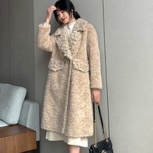 Пальто из натурального меха, Женская шерстяная куртка, осенне-зимнее пальто, женская одежда, корейские винтажные Длинные Топы из овечьей шерсти Veste Femme