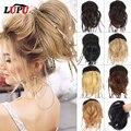 Лупу Синтетические прямые волосы косы шиньон надписью «Messy Hair пучок с эластичные трикотажные резинки для волос шиньоны для Для женщин натур...