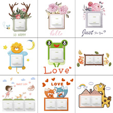 Cute Animal Cover Cartoon Room Decor Wall Silicone On-off Switch Luminous Light Outlet Sticker Protective