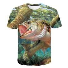 Rahat balklk T-shirt balk yeni 3D bask o-ring boyun erkek tirt yaz ksa kollu tirt s-6xl