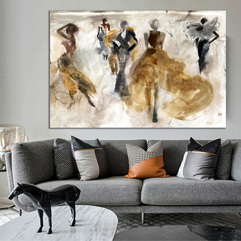 Abstract Oil Painting with Dancing People Printed on Canvas 2