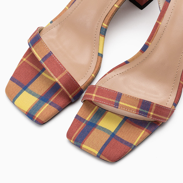 Donna in Gingham High heeled Sandals Women Ankle Strap Natural Leather New Shoes Women Summer Square