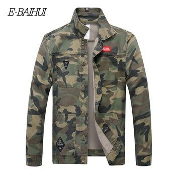 E-BAIHUI Men Camouflage Denim Jacket Slim Fit Camo Jean Jackets For Man Trucker Jackets Outerwear coat Size S-4XL Turn Down 2025 wrangler men s tall george strait cowboy cut slim fit jean