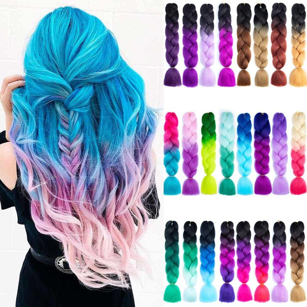 Ombre Jumbo Braids Hair 24inch 100g Synthetic Braiding Hair Crochet Braid Hair Extension  For Women Blond Brown Pink Purple