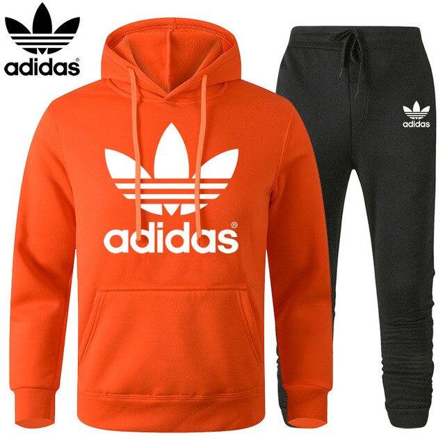 Adidas Clover Tracksuit Men Set 2020 Winter Hoodies Pants 2 Pcs Set Fashion Hoody Mens Sweatshirt Sport Joggers Sweatpants Suit