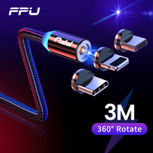 FPU Cable Micro USB magnético de 3m para móvil, Cable de carga rápida para iPhone, Samsung, Android, tipo C