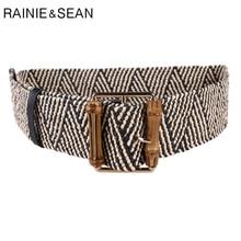 RAINIE SEAN Braided Belt Women Wide Waistband Bamboo Buckle Ladies Belts for Dresses Black Striped Ethnic Retro Female Belt недорого