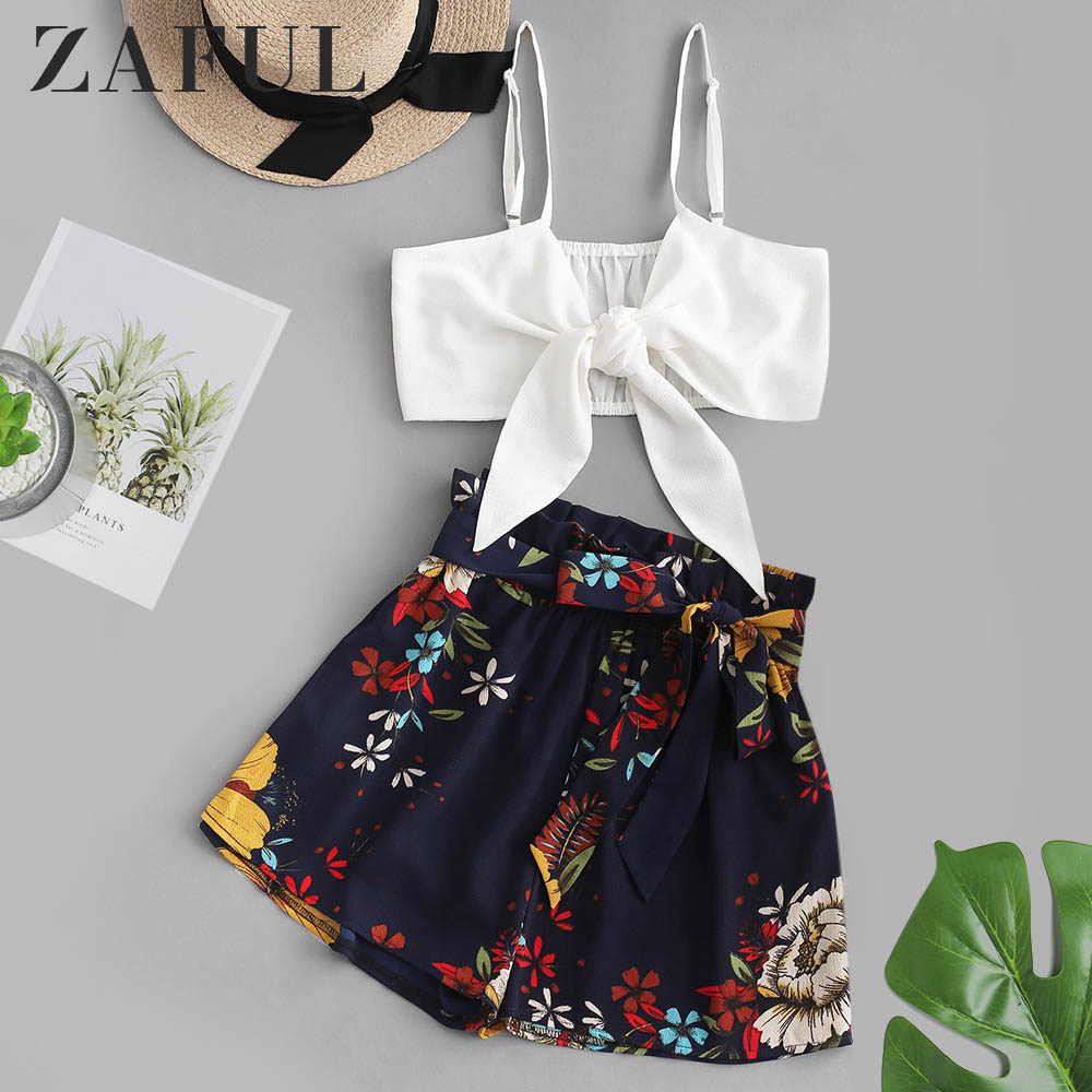 ZAFUL Floral Print Crop Belted Paperbag Shorts Set Sleeveless Women Casual Loose Belted Floral Print Two Pieces Sets 2019