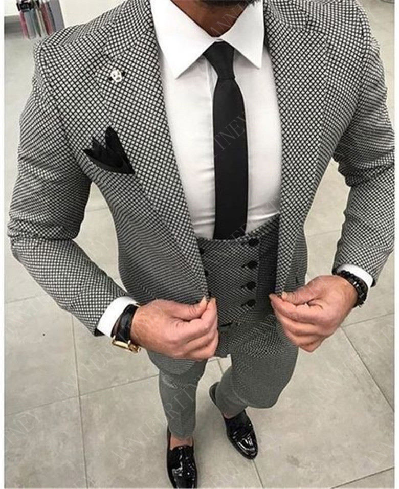 ANNIEBRITNEY Fashion Houndstooth Men's Suits Set Slim Fit Groom Tuxedos For Wedding Prom Formal Jacket Pants Suits For Men 2019