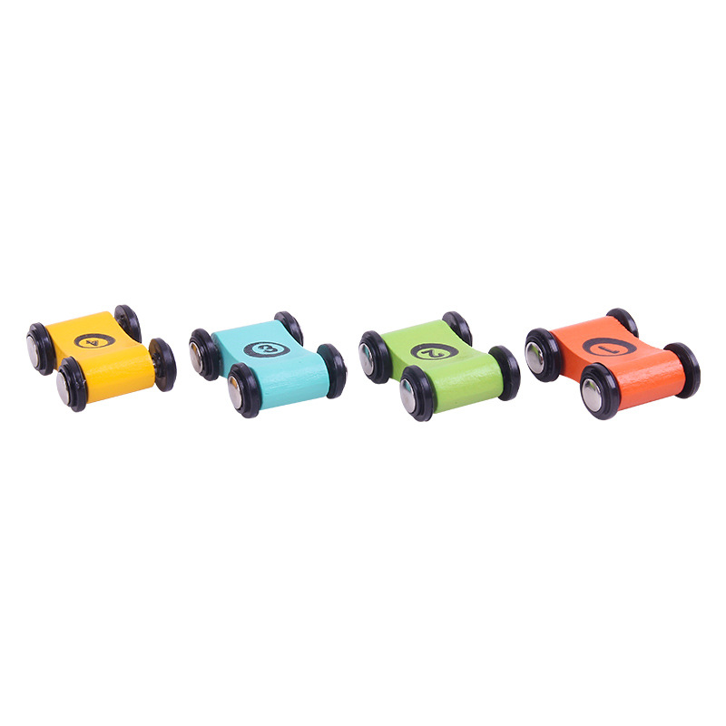 4pcs Children Toys Wooden Slide Car Friction Glider Play House Interactive Mini Racer Children's Wooden Toy Car