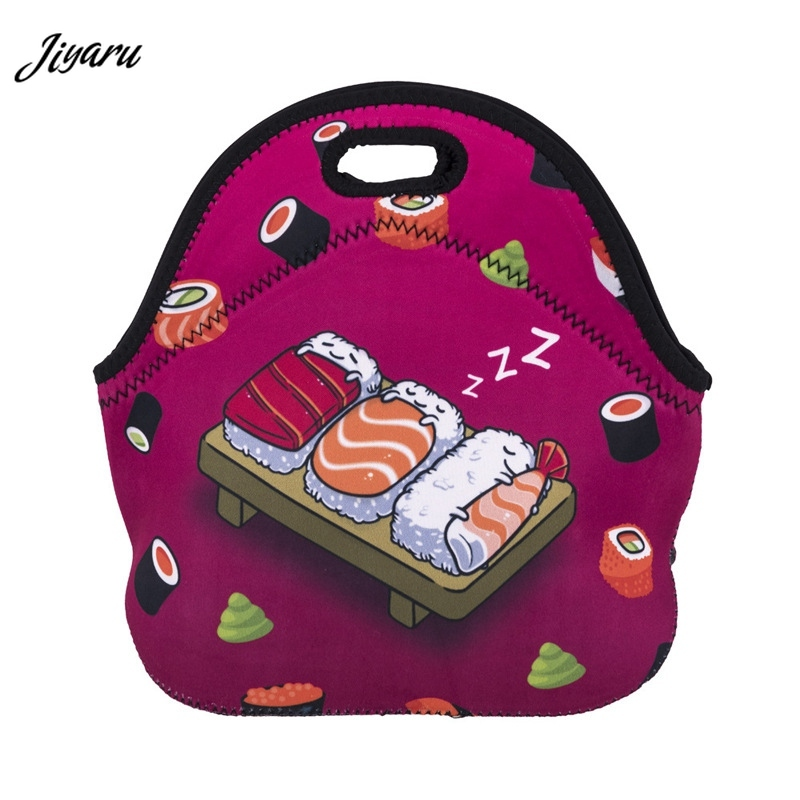 3D Cartoon Print Women Lunch Bag Thermal Insulated Neoprene Lunch Bag Dessert Coffee Pouch Kids Cooler Insulation Lunch Box