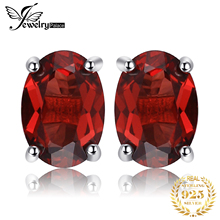 Brand New 2ct Genuine Red Garnet Earrings For Women Love's Gift Oval Cut Solid 925 Sterling Silver Stud Earrings Fashion Jewelry czcity brand elegant petal delicate women 925 sterling silver stud earrings for women genuine silver jewelry gift