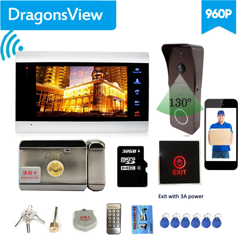 【Wifi Intercom With Lock 】Dragonsview  7 Inch Wifi Video Door Phone Intercom System Wirelesss Doorbell Camera Electronic Lock