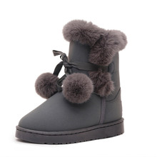 2018 Winter Boot Women Snow Boots Plush Casual Shoes Woman 35-41 fashion Flat Platform Mid-Calf Slip-on Plus Velvet To Keep Warm snow boots platform 4 8cm heels down flat women shoes black white blue mid calf boots fashion ladies winter boots plus size 44