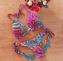 Brazilian Sexy Tie-dye Print Bikinis New Back Cross Swimwear Women 2 Piece Set Summer Push Up Swimsuit Beachwear Thong Biquini