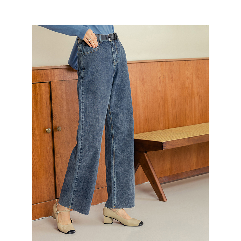 INMAN Spring New Arrival Cotton Washed With Pocket Loose Style Fitting Small Snow Flower Women Lady Jeans