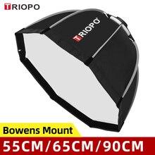 Triopo sombrilla portátil de 55cm, 65cm, 90cm y 120cm con soporte para Bowens, para estudio Flash