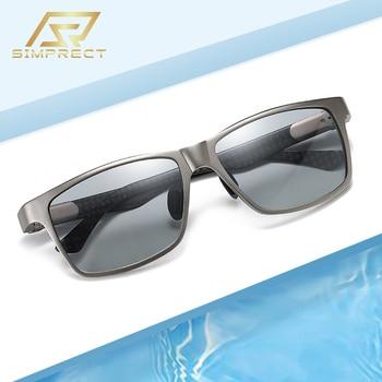 SIMPRECT Aluminum Magnesium Polarized Sunglasses Men 2020 Photochromic Sunglasses Carbon Fiber Driver's Sun Glasses For Men aoron photochromic polarized mens sunglasses classic rectangle sun glasses uv400 aluminum magnesium leg sunglasses