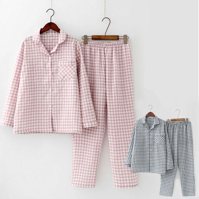 2 Pcs/Sets Spring Cotton Women Pajamas Set Sleepwear Autumn Plus Size Top + Long Pant Sleepwear Girls Pyjama