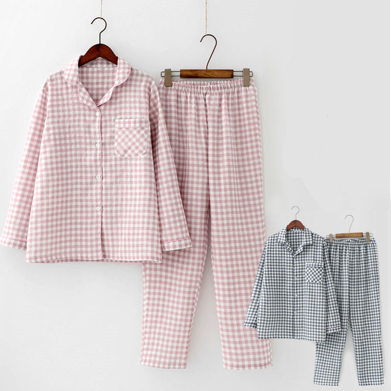 2 Pcs/  Sets   Spring Cotton Women   Pajamas     Set   Sleepwear Autumn Plus Size Top + Long Pant Sleepwear Girls Pyjama