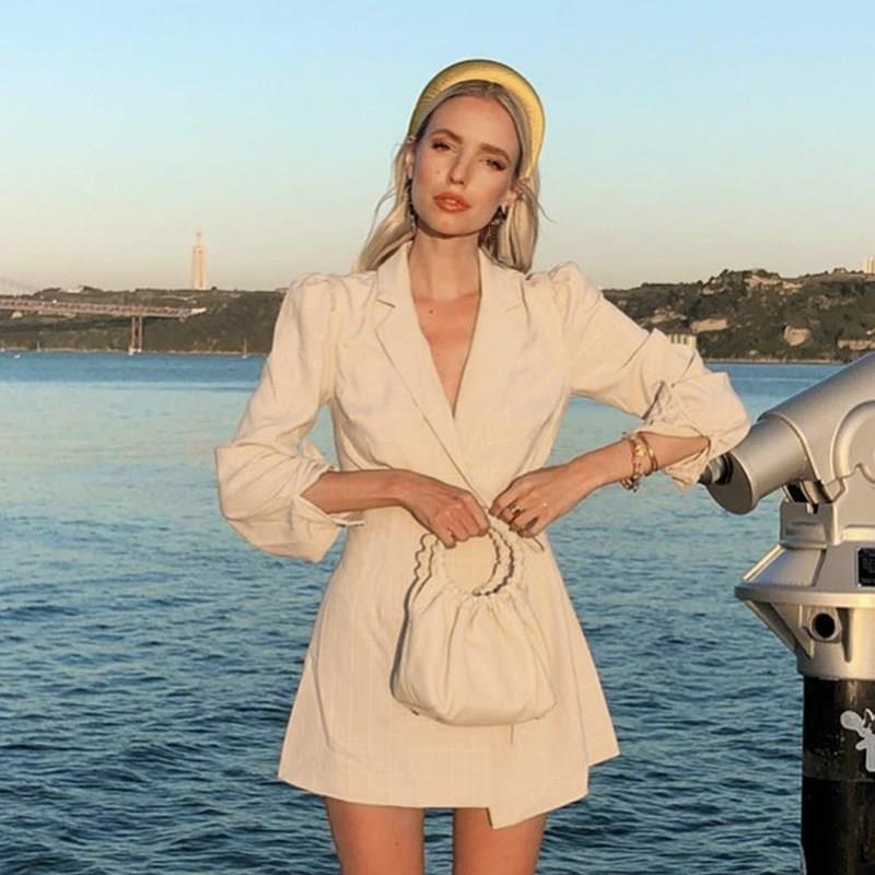 Otoño Invierno chaqueta a cuadros Vestido Mujer moda encaje hasta mangas largas Mini vestido Oficina mujer Oficina vestido suelto - 3