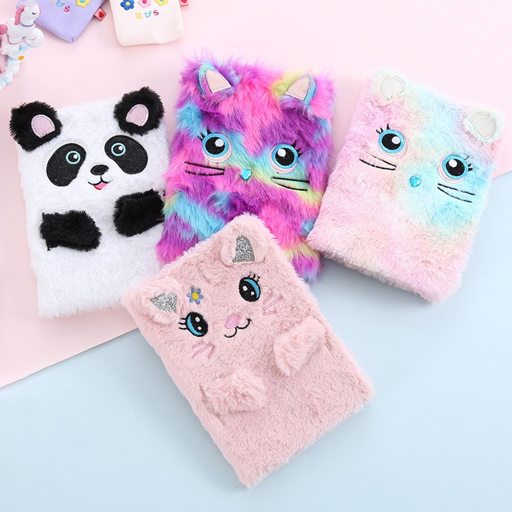 Fluffy Diary Girls Journal Notebook Cartoon Planner Notebook Cat Panda Memo Pad Birthday Gift Notebooks Libros Agenda