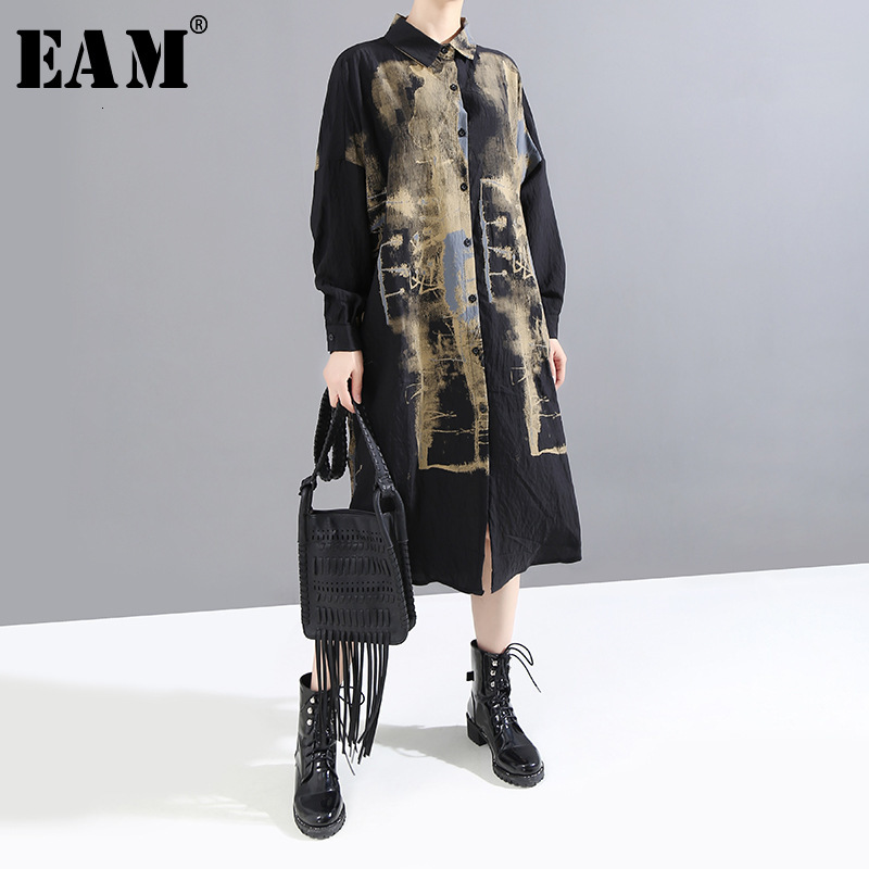 [EAM] Women Black Black Pattern Print Big Size Shirt Dress New Lapel Long Sleeve Loose Fit Fashion Tide Early Spring 2020 1M925