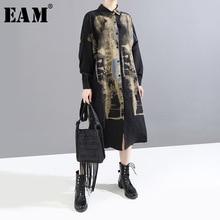 [EAM] Frauen Schwarz Schwarz Muster Druck Große Größe Hemd Kleid Neue Revers Lange Hülse Lose Fit Mode Flut frühen Frühling 2020 1M925