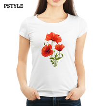 Women Clothing 2019 Summer White Tee Shirt for Lady Girl Watercolor Poppies Flower Printing Graphic T Shirts Korean Ulzzang Tops