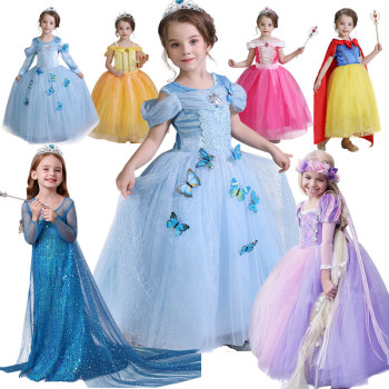 Sukienka dla dziewczynek na imprezę kostium księżniczki dla dzieci kostium Cosplay na Halloween dziewczynka księżniczka sukienka sukienka świąteczna tanie i dobre opinie NNJXD Dziewczyny POLIESTER spandex Woal Mesh 4-6y 7-12y CN (pochodzenie) CZTERY PORY ROKU Kostek O-neck REGULAR Pełne Europejskich i amerykańskich style
