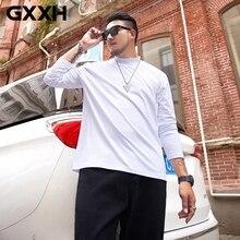 Mens T-Shirt Turtleneck Long-Sleeve White 4XL 6XL 7XL Solid Casual GXXH XXL Plus-Size