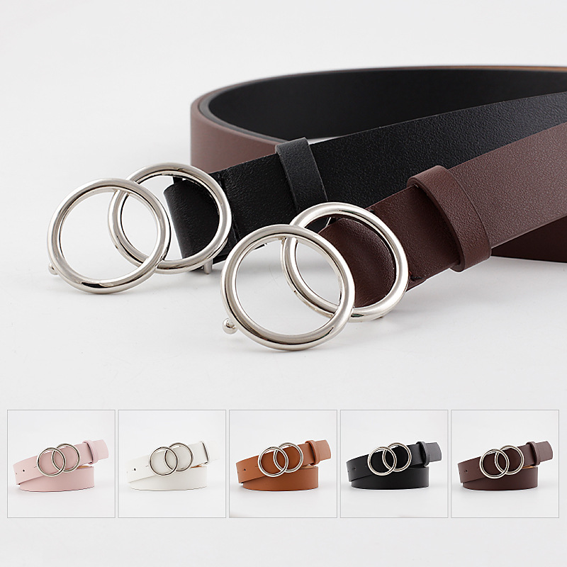 2020 NEW Woman Double Ring Buckle Belt For Jeans Vintage Fashion Casual All-Match Silver Buckle  Artificial Leather Waistband