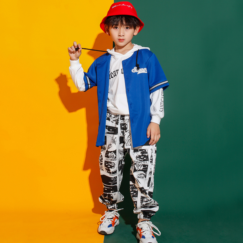 Printing Jazz Dance Costumes For Boys Hiphop Stage Performance Clothing Street Dance Rave Outfit Kids Practice Wear 3 Pcs DC2779