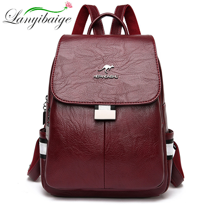 2020 New PU Women Leather Backpacks Female School Bag For Teenager Girls Travel Backpack Sac A Dos Brand Ladys Retro Bagpack