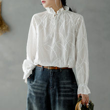 sweet lacing ruffled collar white embroidery flare sleeve cotton shirt blouse mo