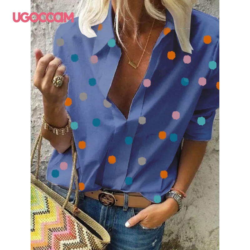 H1f8b719788754f5481b99e550a4e50afH - UGOCCAM Women Blouse Long Sleeve Blouse Shirt Print Office Turn-down Collar Blouse Elegant Work Plus Size Tops Fashion Women Top